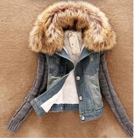 2015 Winter Autumn Women Fashion Thick Warm Coat Denim Fleece Lining Artificial Fur Short Jacket casual Parkas Plus sizes S--4XL