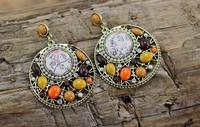 Unique Luxury Designed Colorful Beads and Rhinestone Women Vintage Bohemian Dangle Fashion Big Earrings. Aliexpress Hot Sale