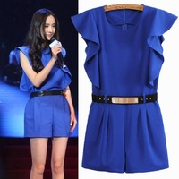 New 2014 Spring and Summer Women Fashion Slim Ruffle Sexy Jumpsuit all-match Blue Butterfly Sleeve Overalls Shorts Romper Top606