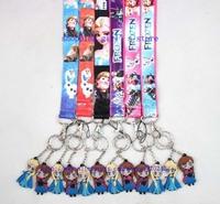 New Hot Sale 20pcs Cartoon Frozen Lanyard strap Cell Phone ID Key Holder Pvc Anna/Elsa Key Chian Charms