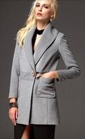 female wool coat autumn and winter medium-long 2014 elegant slim turn-down collar horn button outerwear