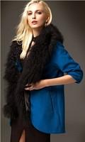 2014 medium-long wool woolen overcoat women's high quality fur collar outerwear cashmere