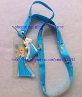 Wholesale 20pcs Cartoon Frozen Blue Lanyard/Work cards/ key chains /Neck Strap Lanyard + pouch bag pvc Figure