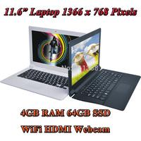"11.6"" Netbook Intel Celeron N2806 Dual Core 1.6Ghz 4GB RAM 64GB SSD Ultrabook Windows 7 / Windows 8 Mini Laptop WiFi HDMI Webcam"