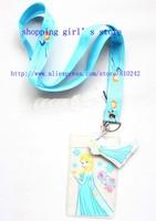 Hot Promote Wholesale 500pcs Cartoon Frozen Blue Lanyard/Work cards/ key chains /Neck Strap Lanyard + pouch bag pvc Figure