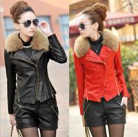 New 2014 Women Winter Clothing High Quality Leather Warm Coat  Fur Collar Jacket Coat Plus Size jaqueta de couro feminina