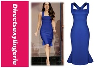 2014 Women Summer Sexy New Fashion Celebrity Vintage Elegant Party Bodycon Dress Wide Straps Royal Blue Midi Dresses