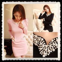 2014 Autumn New Korean Style Slim Diamonds Beading Long Sleeve Tight Women Dress Black And Pink S-XXL Sweet Fashion