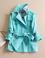 star classic double breasted slim solid color with hood short trench outerwear formal