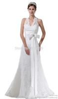 2014 FairOnly New Custom White/ivory Elegant Halter Lace Sash Bow Wedding Dresses Bridal Gowns