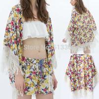 New Fashion Ladies' Elegant Floral Print loose kimono blouse non-button Tassel Shirt vintage cardigan brand design top