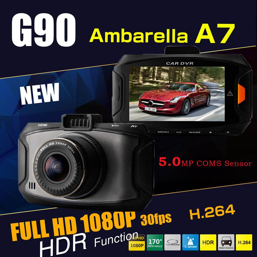 """Mini Ambarella A7 2.7"""" LCD Car DVR Camera G90 HDR Full HD 1080P 30fps 170 Wide Angle G-sensor Night Vision 13MP Photo SOS Key(China (Mainland))"""