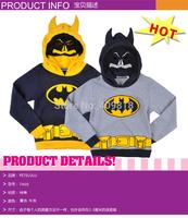 2014 2T-10T sweatshirts baby cartoon batman hoody children outerwear kids long sleeve hoody 100%cotton fleece sweatshirt A001