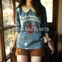 2014 Autumn Women Denim Shirt Peter pan Collar Sailor Style Anchor Letters Embroidery Back Botton Blouses Blusas ,Free Shipping