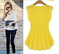 Fashion Women Lace Blouse Peplum Tops 2014 Sheer Shirts Lady Summer Chiffon Slim Sleeveless Shirt Dresses Blusas Camisa De Renda
