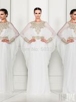 DED17 Arabic Dubai ABAYA KAFTAN white Arrival Zuhair Murad Muslim Dress Poet Long Sleeve With Beaded Chiffon Evening Dresses