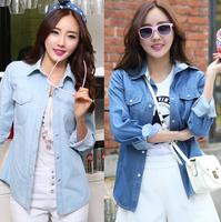 Women Long Sleeve Slim Denim Shirt Turn Down Collar all match Female Streetwear Blouse Casual camisa jeans Shirts ,Free Shipping