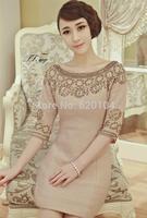 2014 brand new women's autumn fashion wear European top fashion Luxury beading dress half sleeve elegance party dress T957