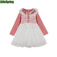 children's dress spring&autumn  girls cute long-sleeved dress dot cotton dress letter lace gauze princess dress tutu  ELZ-Q0197