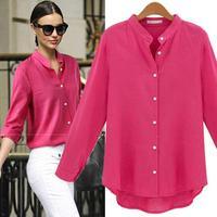 2014 Autumn new women's autumn long-sleeved cotton shirt ladies shirt OL commuter Europe and America