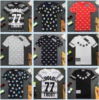 HE-67 new 2014 Harajuku shirt men summer GOLD 77 EYE EXO pyrex rock hip hop casual shirt clothing tshirt TEE Leaves Casual funny