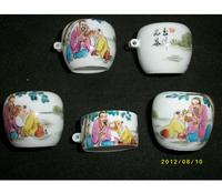 ES048 Jingdezhen China ceramic bird feeder cup,Hand painted,Yuchuanpincha design,5Pcs one sets,Free shipping