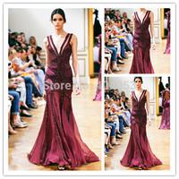 2014 Sexy Newest Hot Sale V Neck Sleeveless Floor Length Formal Dress Zuhair Murad Vestidos De Festa burgundy Evening Dresses