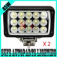 Free DHL Shipping 2PCS 12V 24V 6'' 45W LED Work Light Flood Spot Truck,4X4 LED Driving Light ATV SUV CAR LED Headlight 36W 72W