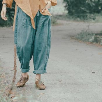 Хлопок линии оригинал зима осень женщины брюки эластичный пояс вышитые широкую ногу ...