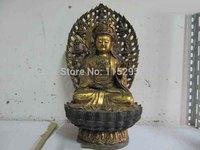 China Bronze Gild lotus flower Bodhisattva Kwan-Yin Guan Yin Bodhisattva statue