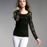 Women's Tops Fashion Lace Corchet Slim Body Pullovers Hollow Out Elegant Casual All-Match Long Sleeved Basic Tees 3Color 6860