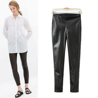 Free shipping !  2014  girls Autumn Winter  Two Colors  Pu Leather Trousers Womens   Ladies Autumn Pants