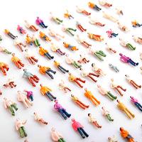 Mini Painted Model People 100pcs HO Scale 1:100 Mix Painted Model Train Park Street Passenger People Figures