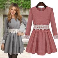 European American Women's Long Sleeve Lace Crochet Cotton Dress Slim Bodycon Classic Plaid Print Mini Dresses Autumn 8130
