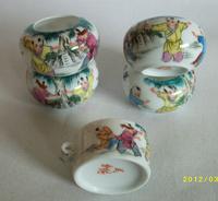 ES049 Jingdezhen China ceramic bird feeder cup,Hand painted,Yingxitu design,5Pcs one sets,Free shipping