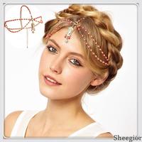 2 colors Fashion Forehead Hair Jewelry Tassel Beads chain Headband women Rhinestone chain Hair Accessories