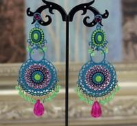 Luxury Handmade Colorful Round Shaped with Beads Women Big Long Dangle Fashion Bohemian Earrings. Wholesale Indian Jewery