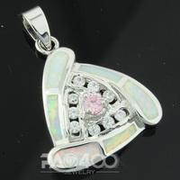 Pink Topaz White Fire Opal Silver Fashion Jewelry Women  Pendant  OLP010BC  Wholesale & Retail