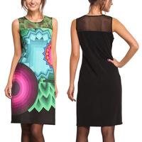812fashion geometric printing lace stitching sleeveless sexy nightclub slim dress