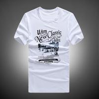 2014 male t-shirt male short-sleeve men's clothing white print teenage cartoon short-sleeve clothes