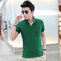 2014 summer male slim turn-down collar fashion men shirt short-sleeve T-shirt stand collar men's clothing