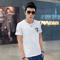 2014 summer short-sleeve T-shirt male slim casual stand collar white t shirt short-sleeve men's clothing