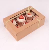 High quality 6-count kraft paperboard cupcake box 50pcs (24cm*16cm*7.5cm)
