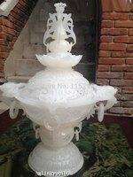 China Royal Palace White Jade Carved Buddhism Incense burner Censer Vase