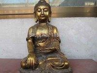 "17""Tibet Buddhism temple Bronze Gild Tathagata Amitayus Sakyamuni Buddha Statue"