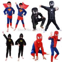 Hot sale Halloween Cosplay clothing Children's Spiderman Cartoon Character bat Man Suit Super-man Costume for Kids Free ship