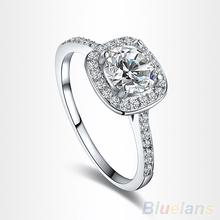Women's 9K White Gold Plated Zircon Crystal Engagement Wedding Jewelry Ring  00U6(China (Mainland))