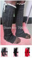 free shipping Women Twist sock Female Legs Leg  Warmer with Button Lace