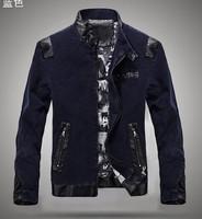 Cowboys Casual Slim Fit Men's 2014 Autumn Winter New Men's Jackets PU Leather Spliced Locomotive Denim Jackets Business Jacket