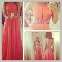 2014 New Design Red Scalloped Chiffon Prom Dress Sexy Back Cross With Crystal Beaded Evening Gown Hot Sale